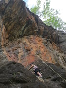 Rock Climbing Photo: What next? Erin has the bulge behind her, and the ...