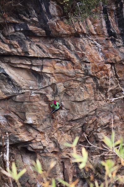 Rock Climbing Photo: Phoe Mu working through the crux.