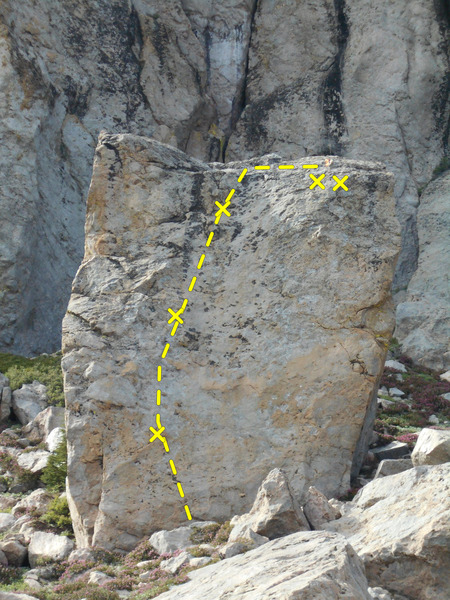 Rock Climbing Photo: The south face of Ricks boulder. Note the orange t...