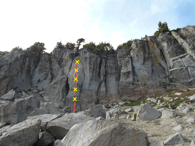 Rock Climbing Photo: Chips and Salsa. The climber on the upper ledge is...