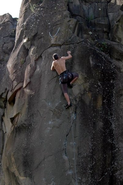 Rock Climbing Photo: Federico on the last move on the route. Thanks to ...