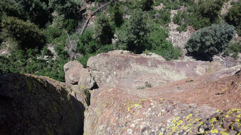 Looking down Pitch 2 on the nice belay ledge.