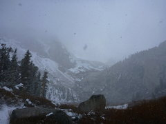 Rock Climbing Photo: Beautiful cold day with falling snow.