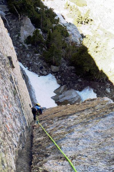 Rock Climbing Photo: Laura working her way up Pika Paradise.