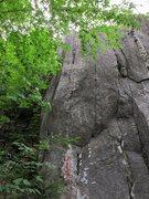 Rock Climbing Photo: Thin Slice follows the left most crack
