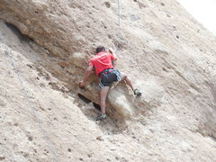 "Rock Climbing Photo: Climber cruxing on ""Aenea"" on a warm Jun..."