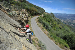 Rock Climbing Photo: Eight-year-old Bryson Fienup nears the top of &quo...