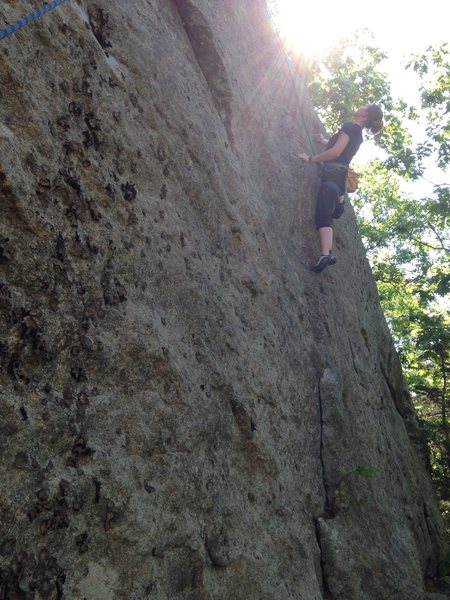 Torie puzzles out the upper crux