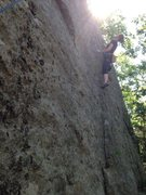 Rock Climbing Photo: Torie puzzles out the upper crux