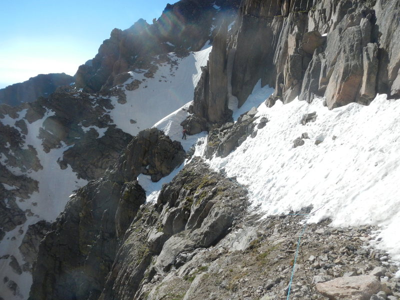 Traverse above Alexander's Chimney area on 27 June 2015. Scary snow and muddy scree, but not difficult.