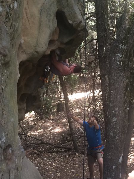Rock Climbing Photo: fun highball boulder problem out of the cave with ...