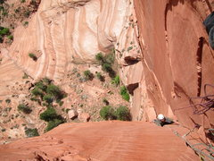 Rock Climbing Photo: Karl following the steepness on P2.