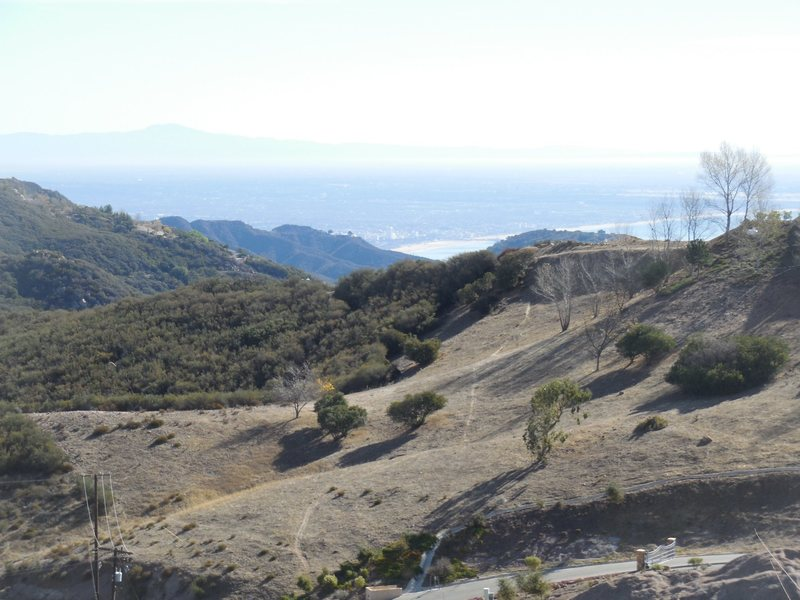 On a clear day you can see the ocean and Santa Monica from the approach to Saddle Peak.