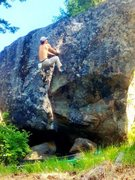 Rock Climbing Photo: at the top of the flake setting up for the big mov...
