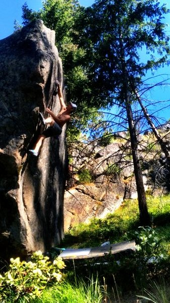 Rock Climbing Photo: stepping up into the thin crack.