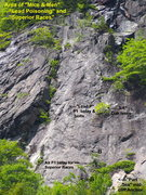Rock Climbing Photo: Area around Lead Poisoning. The 2 bolts marked are...