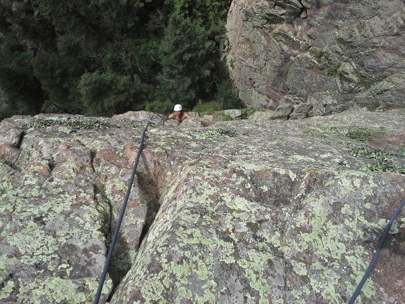 Carlos coming up on the second pitch. Excellent face climbing.