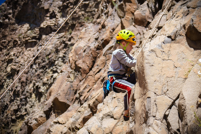 Rock Climbing Photo: Kid crusher my son pulling hard on POC