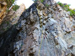 Rock Climbing Photo: Upper Easy Spankin' is yellow line.