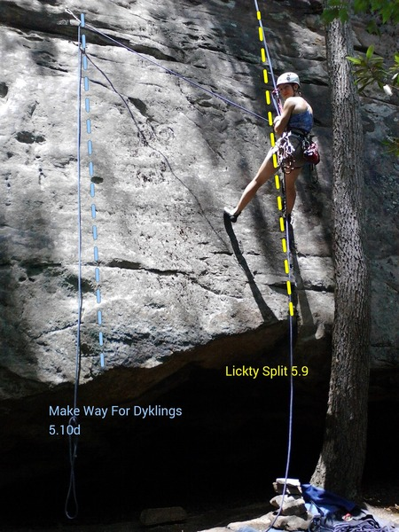 Lickty Split 5.9 on R. Make way for Dyklings 5.10d on L.