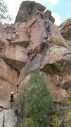Rock Climbing Photo: A short but fun crux move at the little roof. Migh...