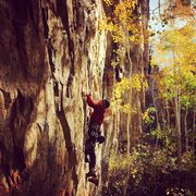 Rock Climbing Photo: Gabe Collins late fall day on Grassy Knoll.