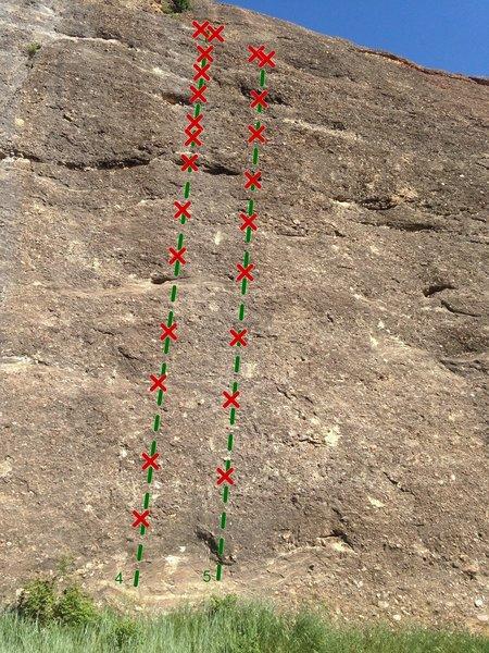 Rock Climbing Photo: 4. Horton Hears a Whowah 5.7 5. Log Jam 5.7