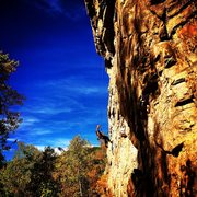 Rock Climbing Photo: Gabe Collins on rappel.