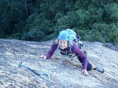 Rock Climbing Photo: Christine on Via dos Italianos pitch 1