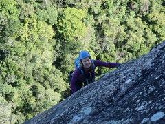 Rock Climbing Photo: Christine on Via dos Italianos pitch 2