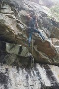 Rock Climbing Photo: Tyler flashing Reflections and sticking the mini d...