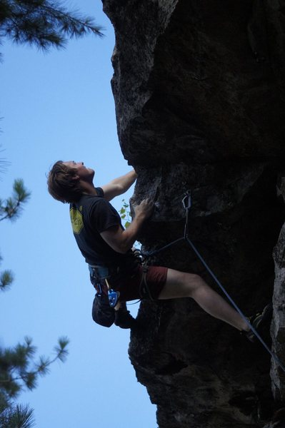 The crux roof low on the route.