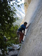 Rock Climbing Photo: The 10a move off the deck