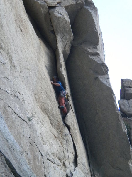 Rock Climbing Photo: I like to face the wall to get through the flake
