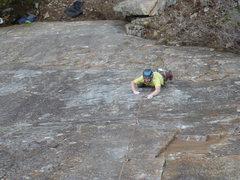 Rock Climbing Photo: Jamie Hozack halfway up Goofy Foot.