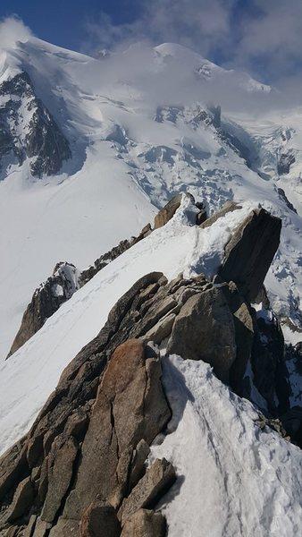 Cosmiques Arete top out at Aiguilles du Midi near Chamonix, France