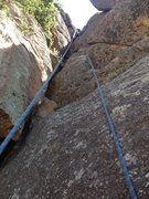 Rock Climbing Photo: The step part of the third pitch, at its beginning...