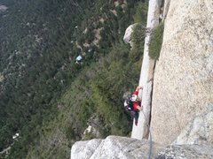 Rock Climbing Photo: Zack trying out the options near the top of first ...