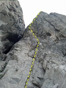 "Rock Climbing Photo: The first pitch of ""Ping Ridge""."