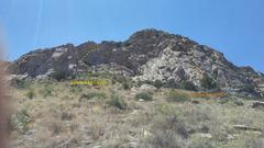 Rock Climbing Photo: Routes on Sugar Bowl. Photo Ian Harris.