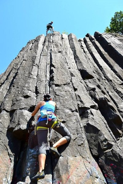 Rock Climbing Photo: Morgan following my lead on the columns