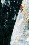 Rock Climbing Photo: Bob Gaines leading Crucifix, 1995.  Photo by Sam R...