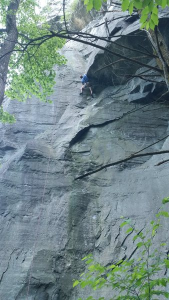 Rock Climbing Photo: The funky roof of Green Sheen on the lower wall.
