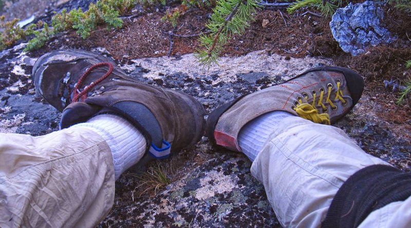Climbing with one lost rock boot.