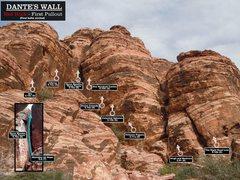 Rock Climbing Photo: Routes at Dante's Wall. First Bolts Circled. Cheer...