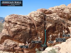 Rock Climbing Photo: Routes at Jessica's Wall. First Bolts circled.Chee...