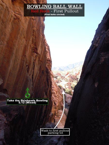 Rock Climbing Photo: Routes at Bowling Ball Wall. First bolts circled.C...