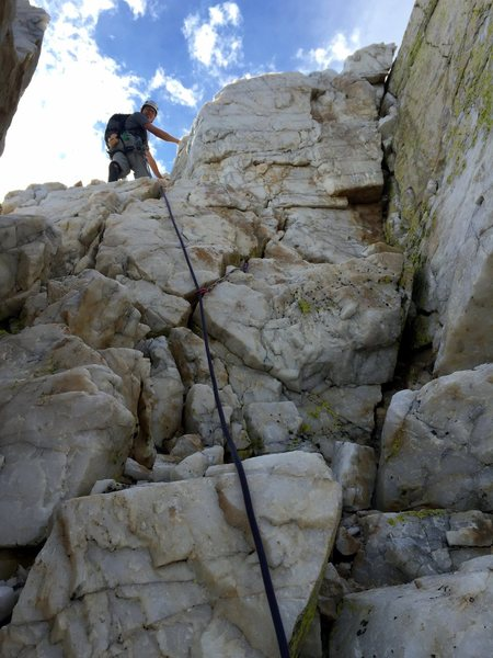 Will in the Crystal Corridor on the North Arete of Crystal Crag.