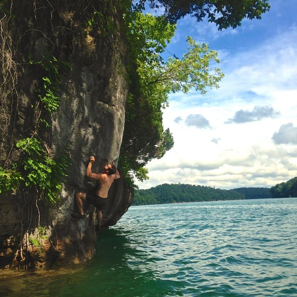 Rock Climbing Photo: Unknown route about 100' climber's right of Wet Dr...