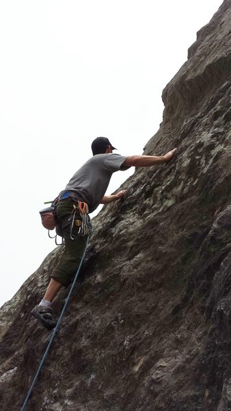 Rock Climbing Photo: Working up to the second bolt